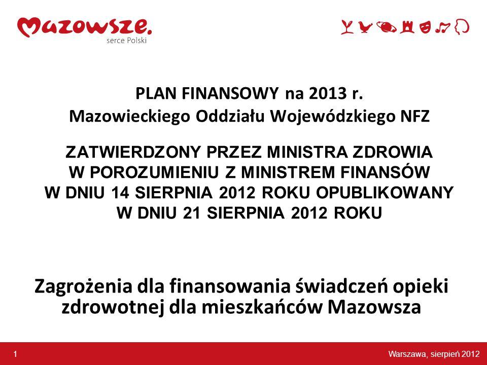 Warszawa, sierpień 2012 1 PLAN FINANSOWY na 2013 r.