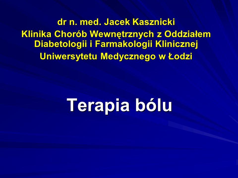 Terapia bólu dr n. med. Jacek Kasznicki Klinika Chorób Wewnętrznych z Oddziałem Diabetologii i Farmakologii Klinicznej Uniwersytetu Medycznego w Łodzi