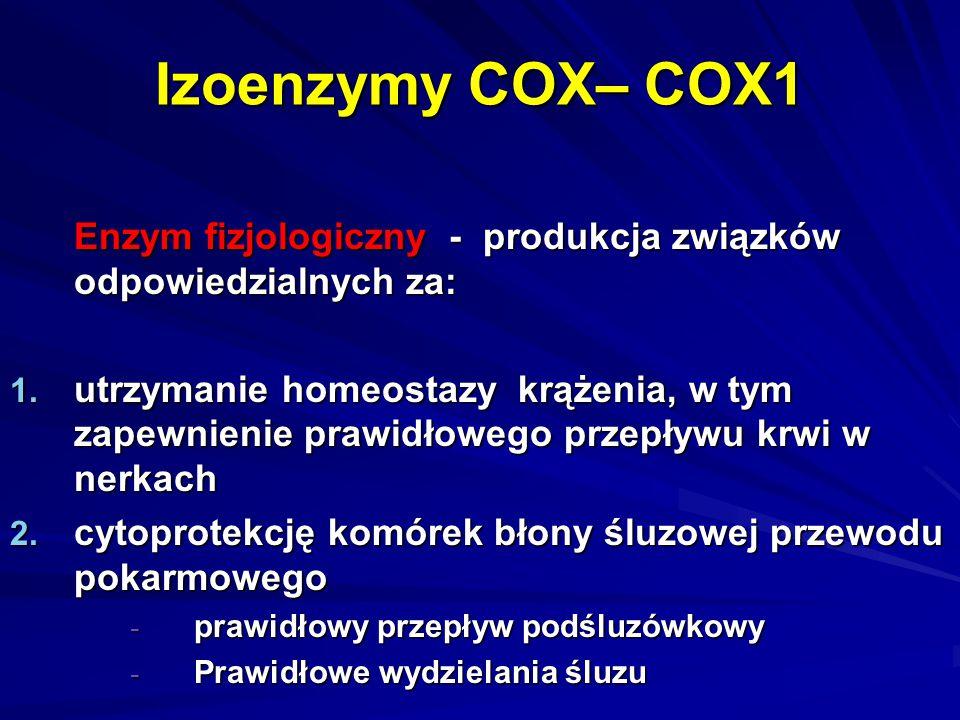 Izoenzymy COX– COX1 Enzym fizjologiczny - produkcja związków odpowiedzialnych za: 1. utrzymanie homeostazy krążenia, w tym zapewnienie prawidłowego pr