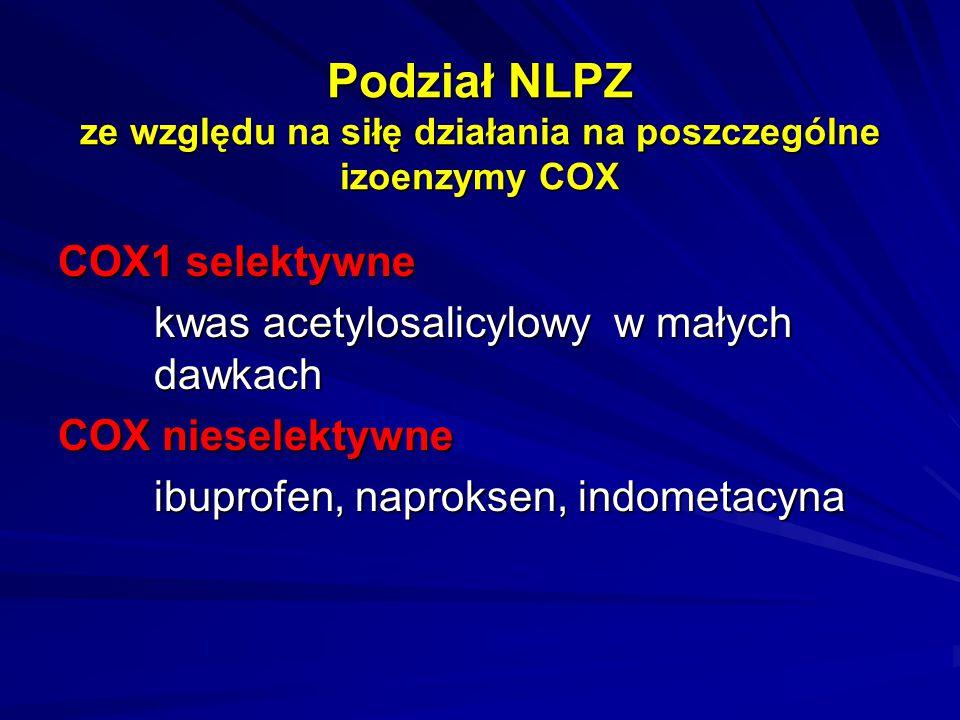 Podział NLPZ ze względu na siłę działania na poszczególne izoenzymy COX COX1 selektywne kwas acetylosalicylowy w małych dawkach COX nieselektywne ibup