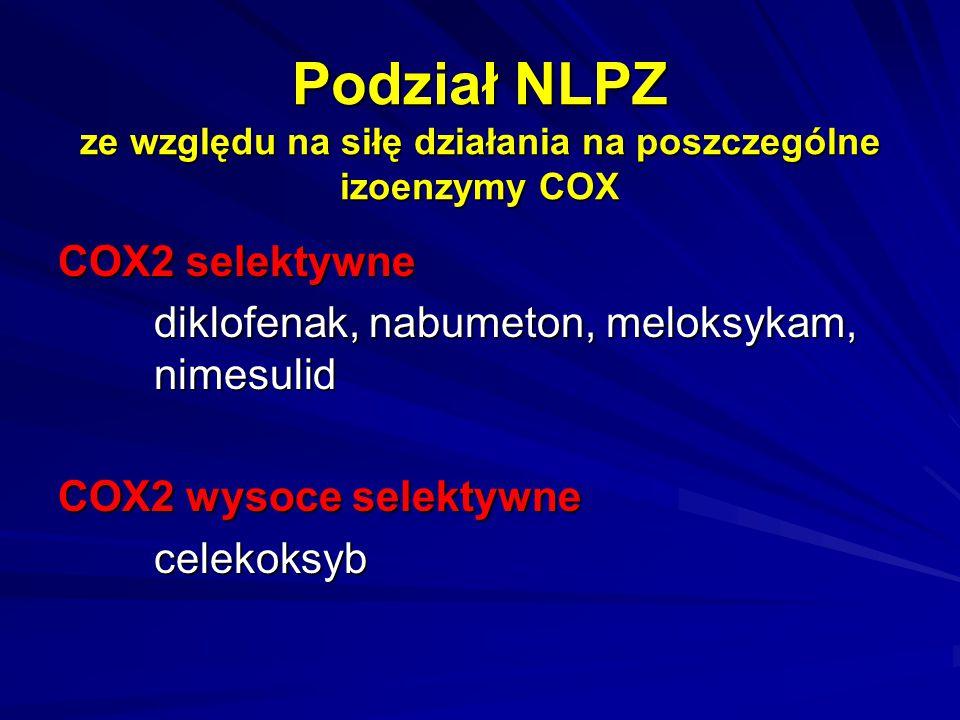 Podział NLPZ ze względu na siłę działania na poszczególne izoenzymy COX COX2 selektywne diklofenak, nabumeton, meloksykam, nimesulid COX2 wysoce selek