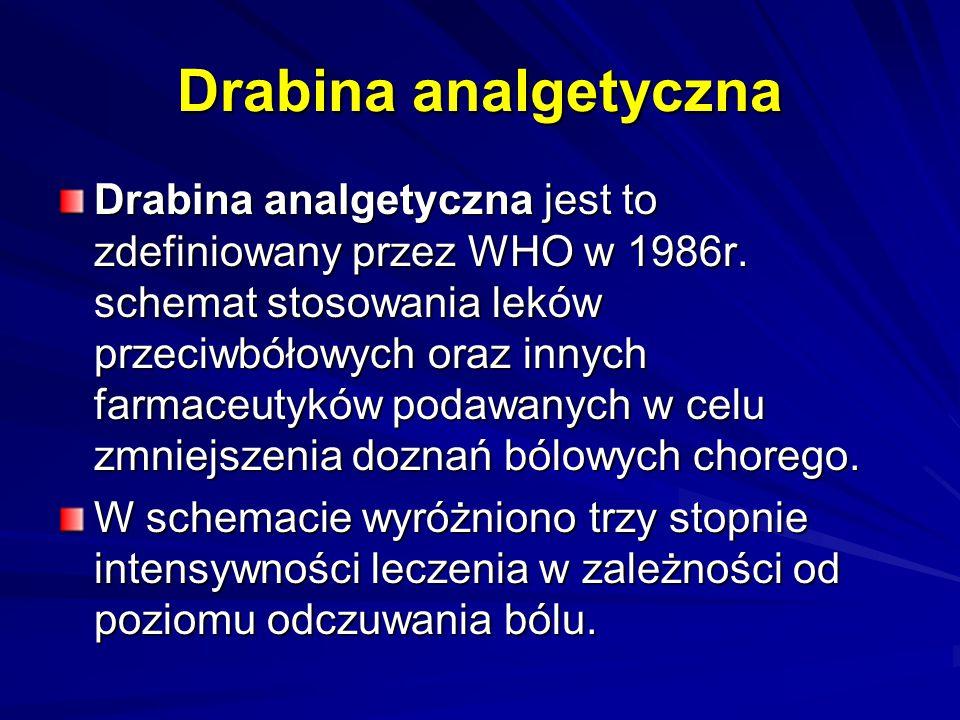 Drabina analgetyczna Drabina analgetyczna jest to zdefiniowany przez WHO w 1986r. schemat stosowania leków przeciwbółowych oraz innych farmaceutyków p