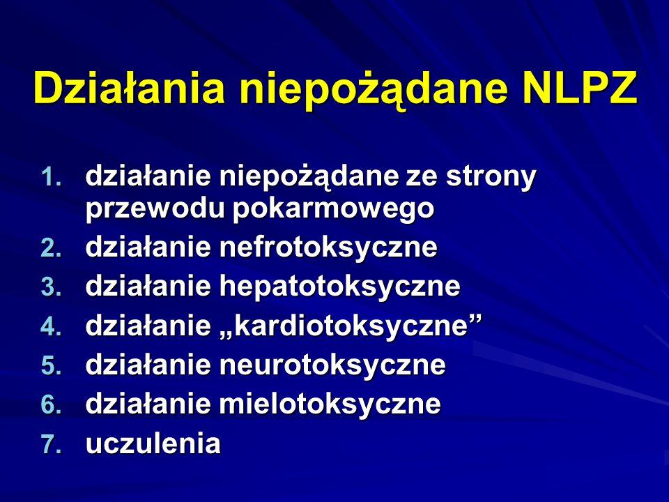 Działania niepożądane NLPZ 1. działanie niepożądane ze strony przewodu pokarmowego 2. działanie nefrotoksyczne 3. działanie hepatotoksyczne 4. działan