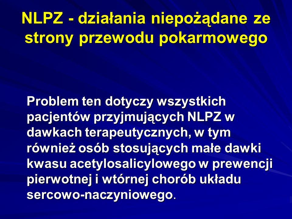 NLPZ - działania niepożądane ze strony przewodu pokarmowego Problem ten dotyczy wszystkich pacjentów przyjmujących NLPZ w dawkach terapeutycznych, w t