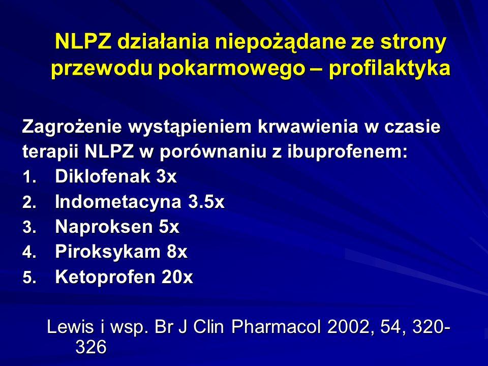 NLPZ działania niepożądane ze strony przewodu pokarmowego – profilaktyka Zagrożenie wystąpieniem krwawienia w czasie terapii NLPZ w porównaniu z ibupr