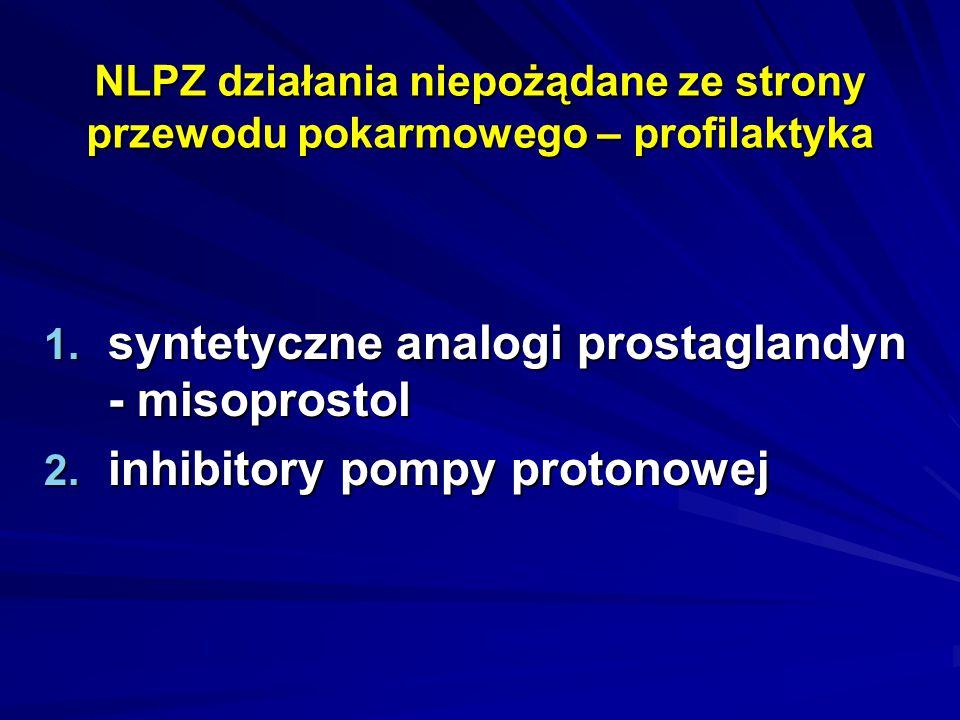 NLPZ działania niepożądane ze strony przewodu pokarmowego – profilaktyka 1. syntetyczne analogi prostaglandyn - misoprostol 2. inhibitory pompy proton