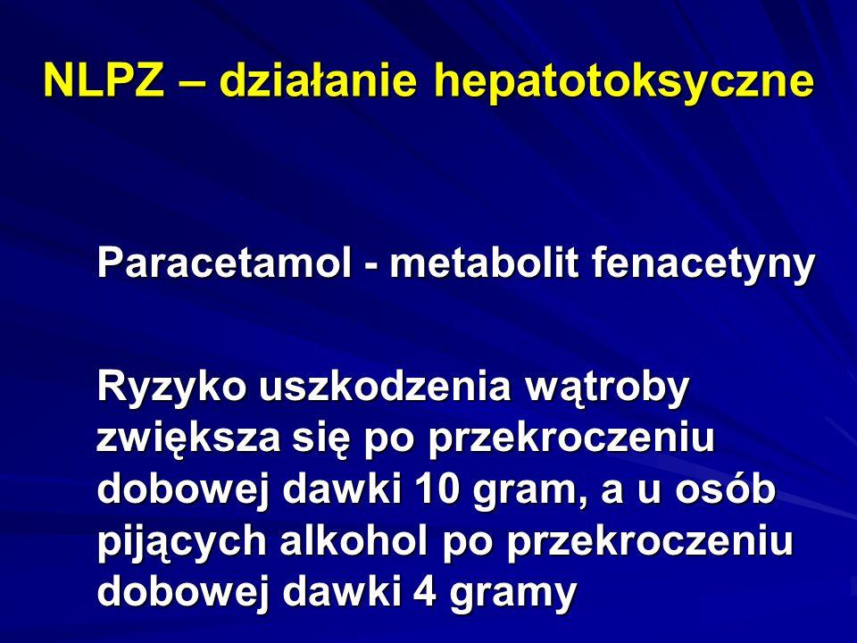 NLPZ – działanie hepatotoksyczne Paracetamol - metabolit fenacetyny Ryzyko uszkodzenia wątroby zwiększa się po przekroczeniu dobowej dawki 10 gram, a