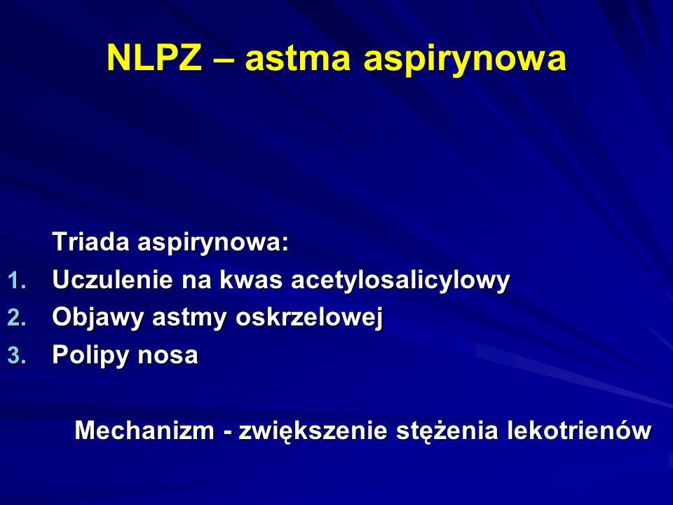 NLPZ – astma aspirynowa Triada aspirynowa: 1. Uczulenie na kwas acetylosalicylowy 2. Objawy astmy oskrzelowej 3. Polipy nosa Mechanizm - zwiększenie s