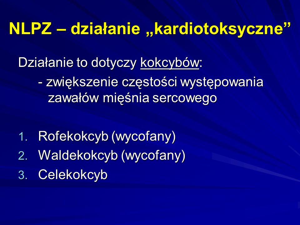 """NLPZ – działanie """"kardiotoksyczne"""" Działanie to dotyczy kokcybów: - zwiększenie częstości występowania zawałów mięśnia sercowego 1. Rofekokcyb (wycofa"""