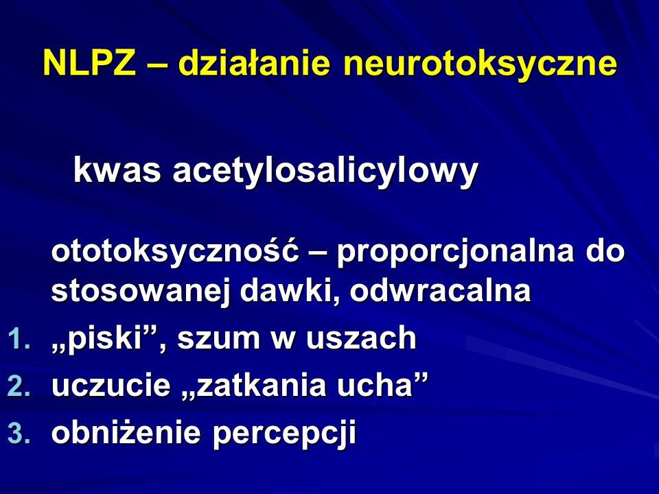 """NLPZ – działanie neurotoksyczne kwas acetylosalicylowy ototoksyczność – proporcjonalna do stosowanej dawki, odwracalna 1. """"piski"""", szum w uszach 2. uc"""