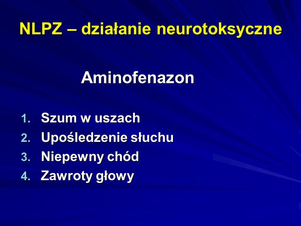 NLPZ – działanie neurotoksyczne Aminofenazon 1. Szum w uszach 2. Upośledzenie słuchu 3. Niepewny chód 4. Zawroty głowy
