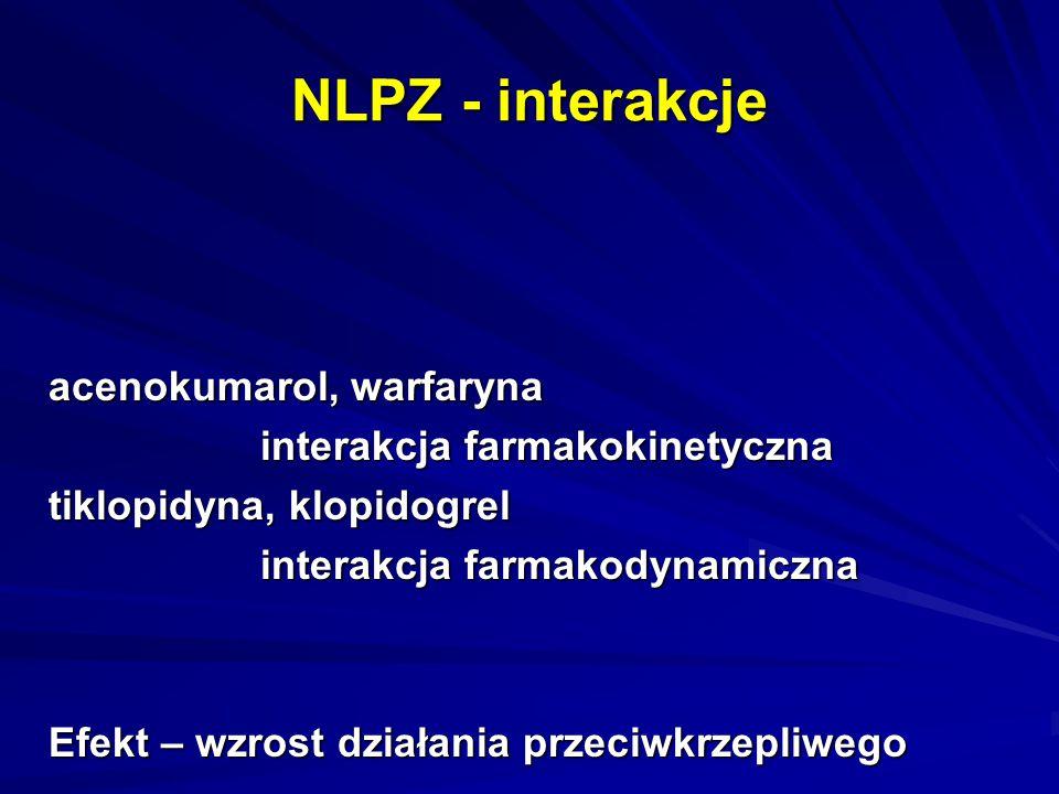 NLPZ - interakcje acenokumarol, warfaryna interakcja farmakokinetyczna tiklopidyna, klopidogrel interakcja farmakodynamiczna Efekt – wzrost działania
