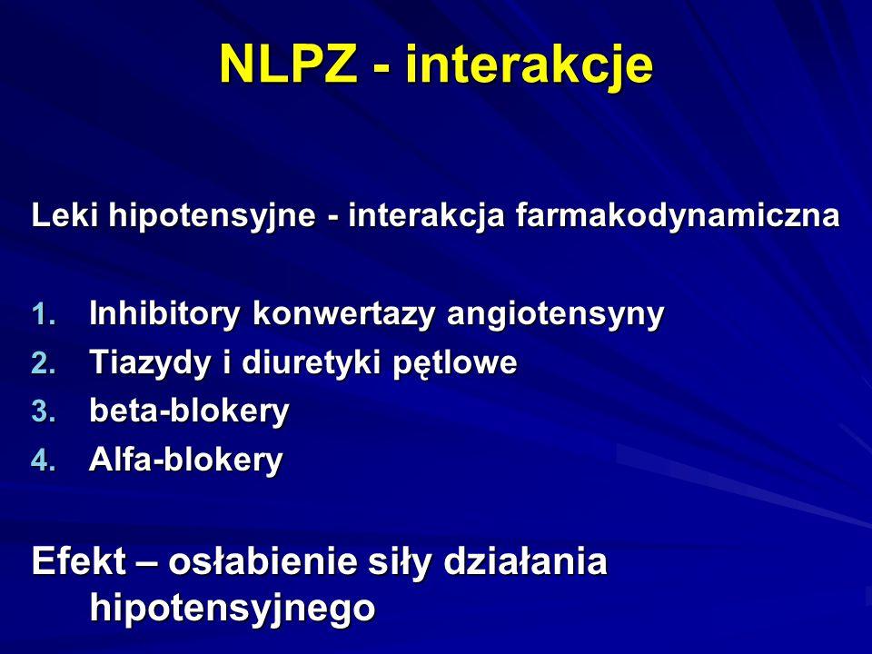 NLPZ - interakcje Leki hipotensyjne - interakcja farmakodynamiczna 1. Inhibitory konwertazy angiotensyny 2. Tiazydy i diuretyki pętlowe 3. beta-bloker