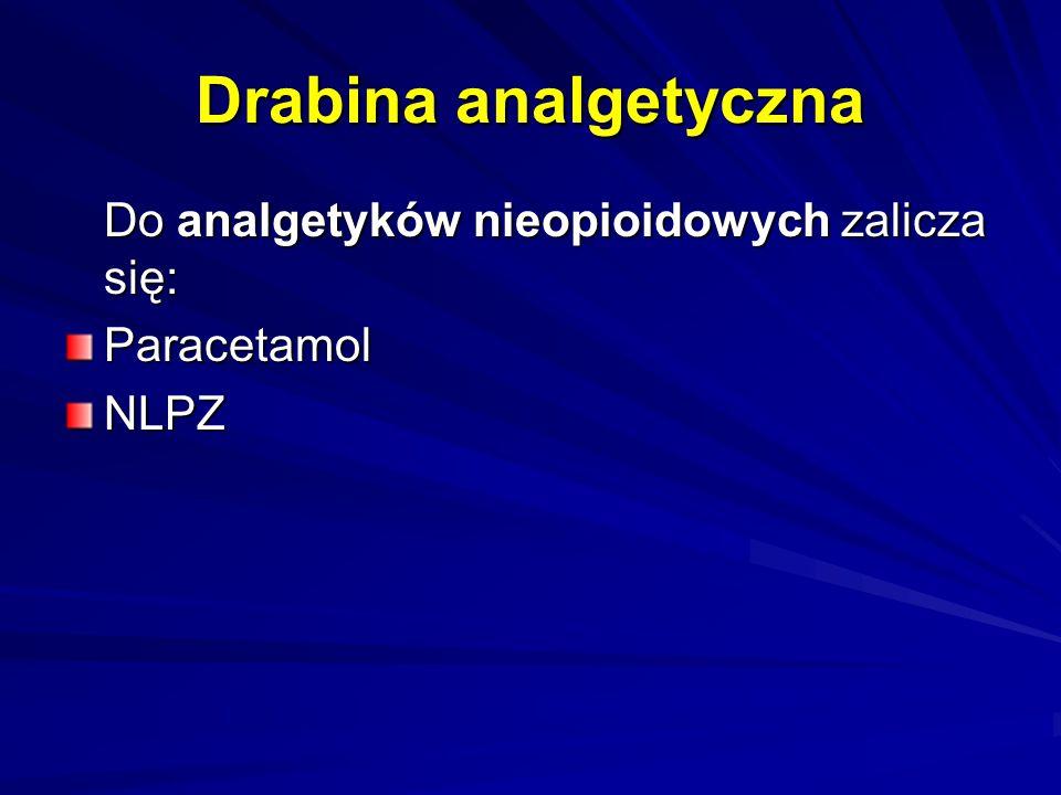 Drabina analgetyczna Do analgetyków nieopioidowych zalicza się: Do analgetyków nieopioidowych zalicza się:ParacetamolNLPZ