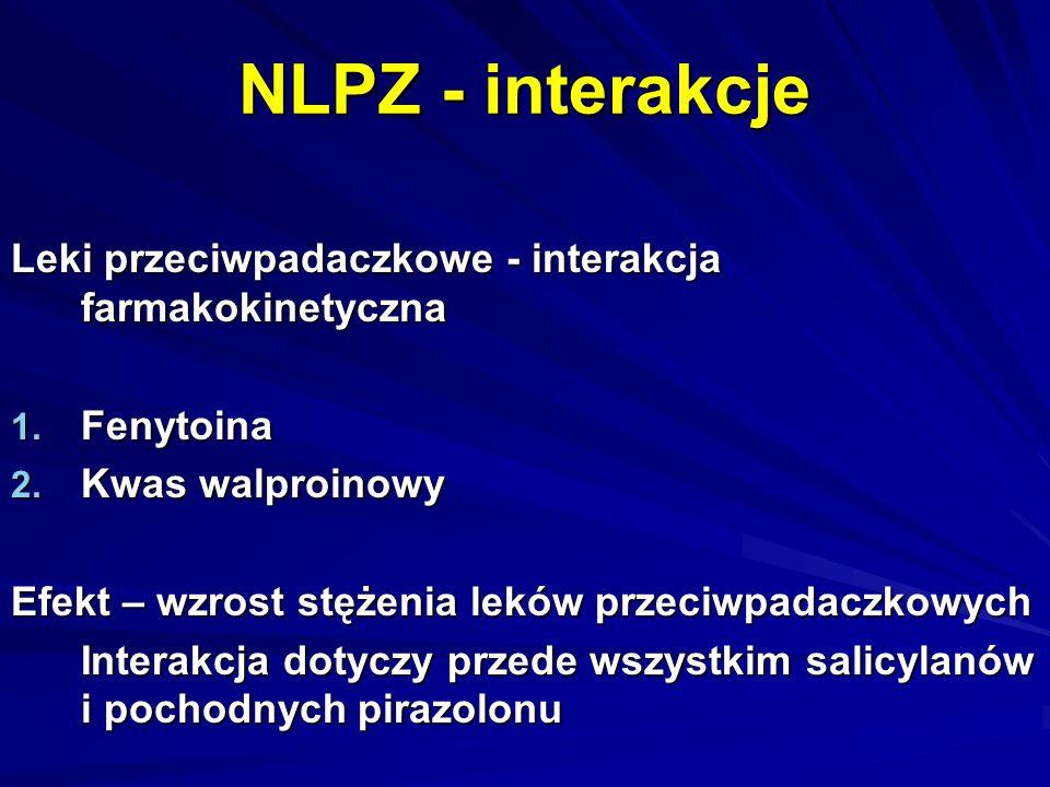 NLPZ - interakcje Leki przeciwpadaczkowe - interakcja farmakokinetyczna 1. Fenytoina 2. Kwas walproinowy Efekt – wzrost stężenia leków przeciwpadaczko