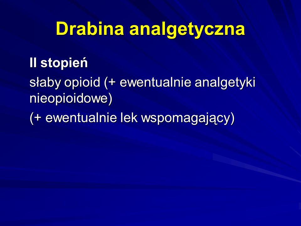Drabina analgetyczna II stopień słaby opioid (+ ewentualnie analgetyki nieopioidowe) (+ ewentualnie lek wspomagający)