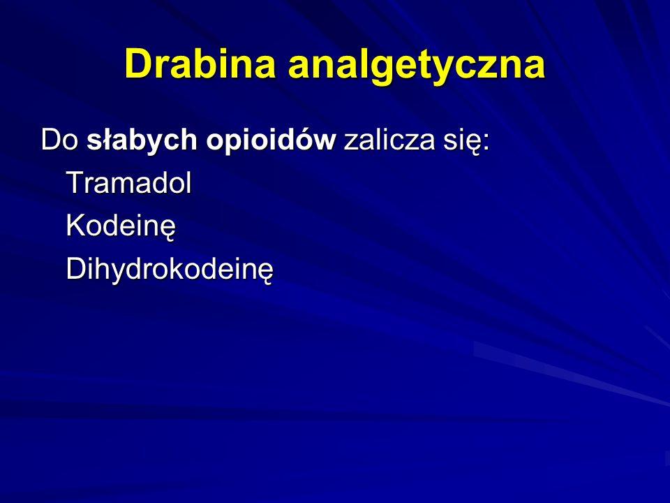 Drabina analgetyczna Do słabych opioidów zalicza się: TramadolKodeinęDihydrokodeinę