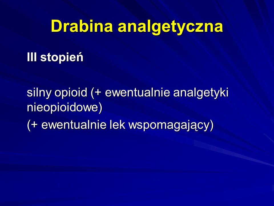 Drabina analgetyczna III stopień silny opioid (+ ewentualnie analgetyki nieopioidowe) (+ ewentualnie lek wspomagający)