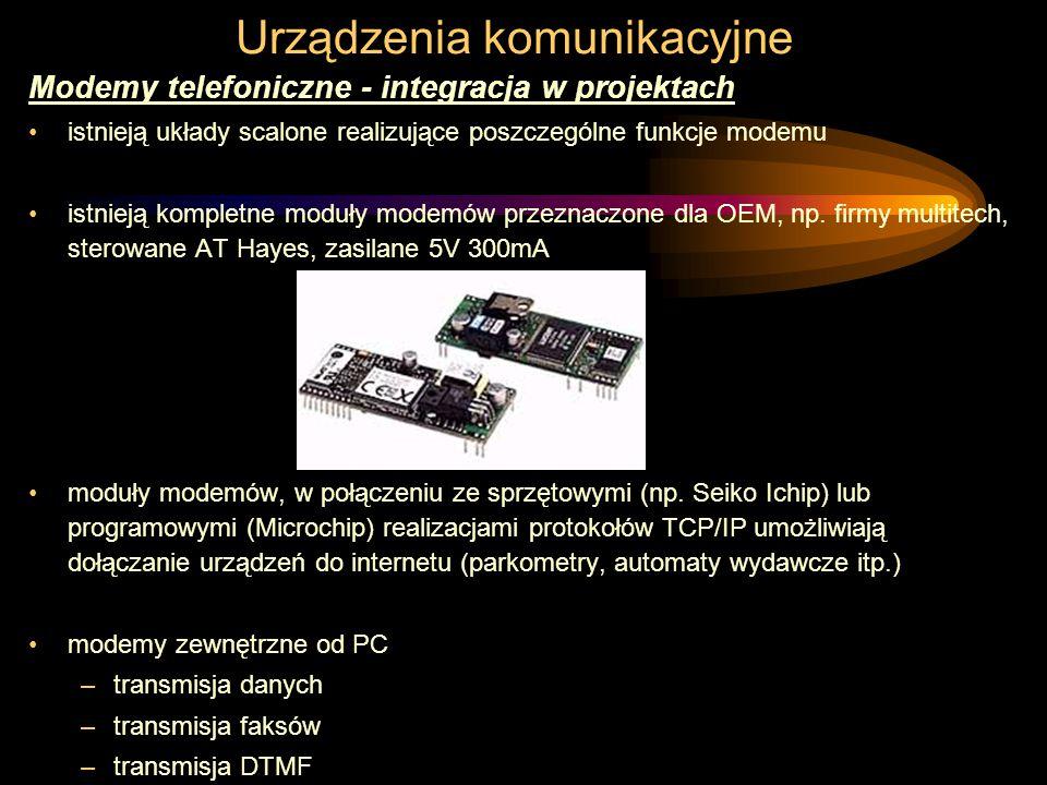 Urządzenia komunikacyjne Modemy telefoniczne - integracja w projektach istnieją układy scalone realizujące poszczególne funkcje modemu istnieją kompletne moduły modemów przeznaczone dla OEM, np.