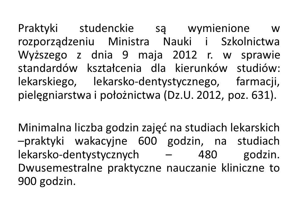 Praktyki studenckie są wymienione w rozporządzeniu Ministra Nauki i Szkolnictwa Wyższego z dnia 9 maja 2012 r.