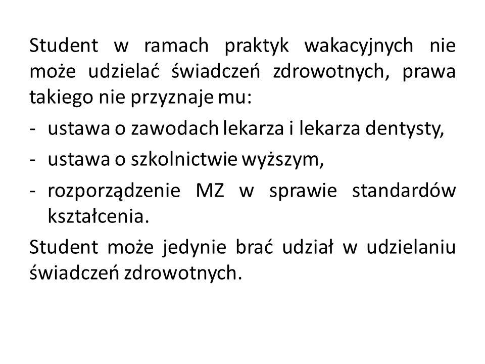 Student w ramach praktyk wakacyjnych nie może udzielać świadczeń zdrowotnych, prawa takiego nie przyznaje mu: -ustawa o zawodach lekarza i lekarza dentysty, -ustawa o szkolnictwie wyższym, -rozporządzenie MZ w sprawie standardów kształcenia.