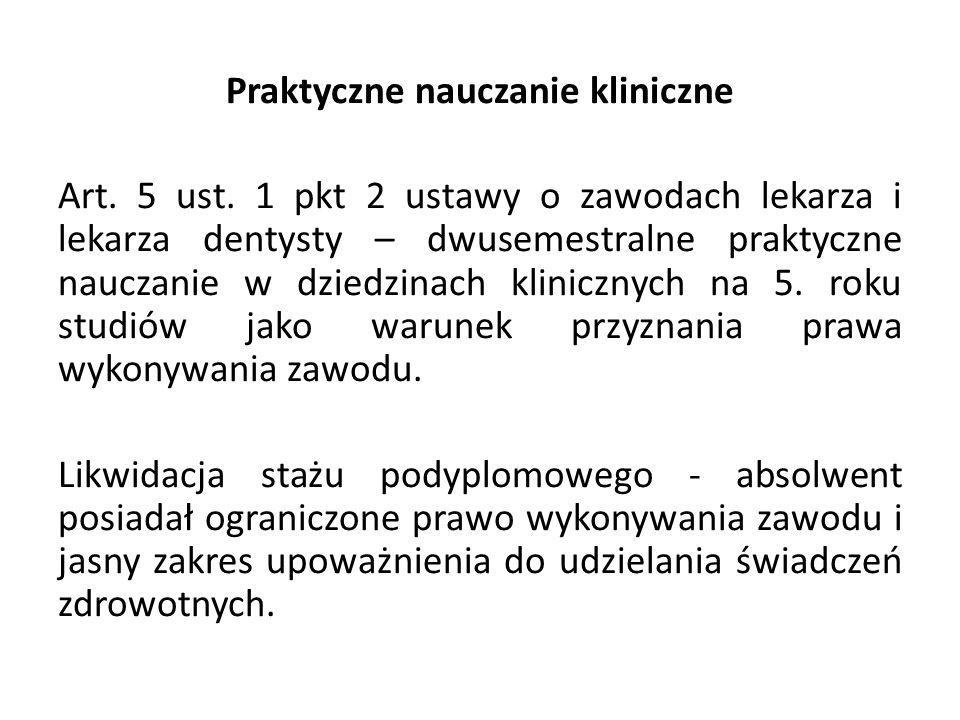 Praktyczne nauczanie kliniczne Art.5 ust.