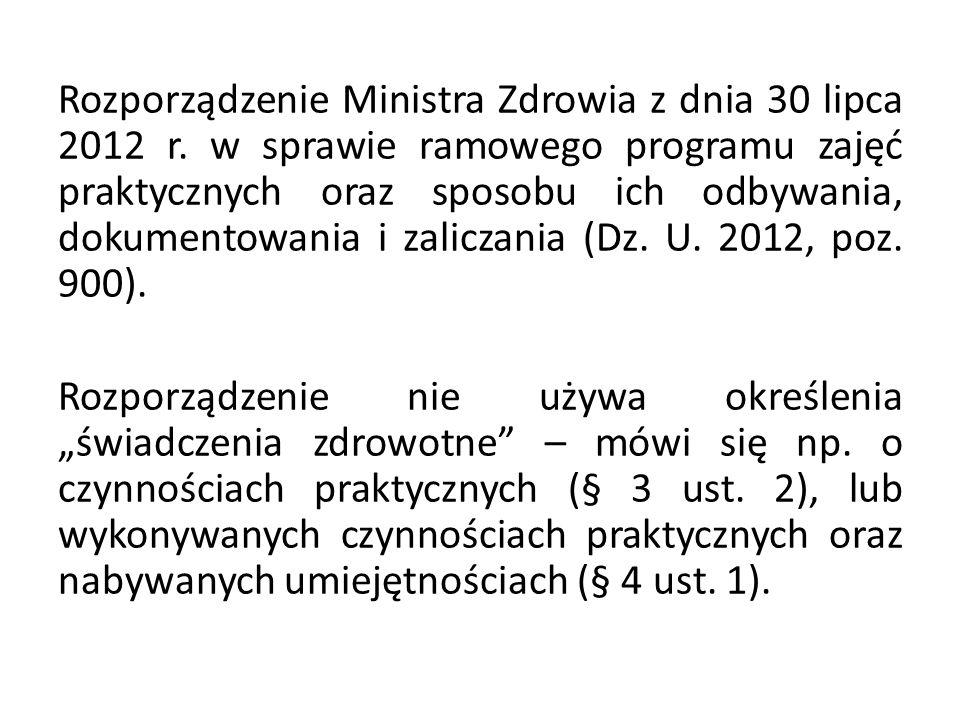 Rozporządzenie Ministra Zdrowia z dnia 30 lipca 2012 r.