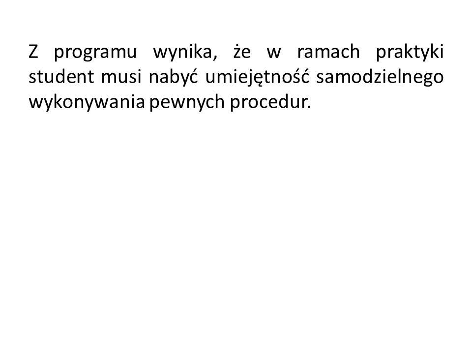 Z programu wynika, że w ramach praktyki student musi nabyć umiejętność samodzielnego wykonywania pewnych procedur.