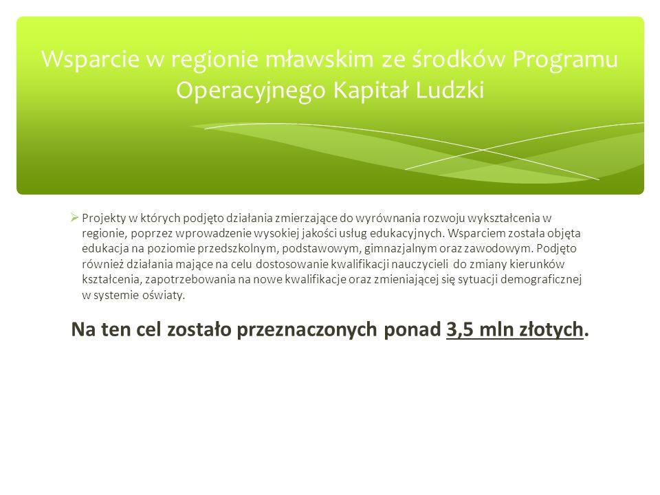 Podobne projekty zostały zrealizowane w większości gmin powiatu mławskiego Gmina Dzierzgowo – 293 004,52 PLN.