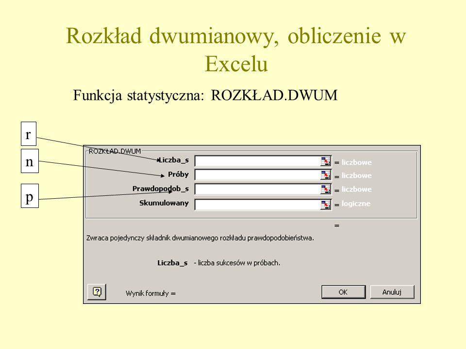 r n p Rozkład dwumianowy, obliczenie w Excelu Funkcja statystyczna: ROZKŁAD.DWUM