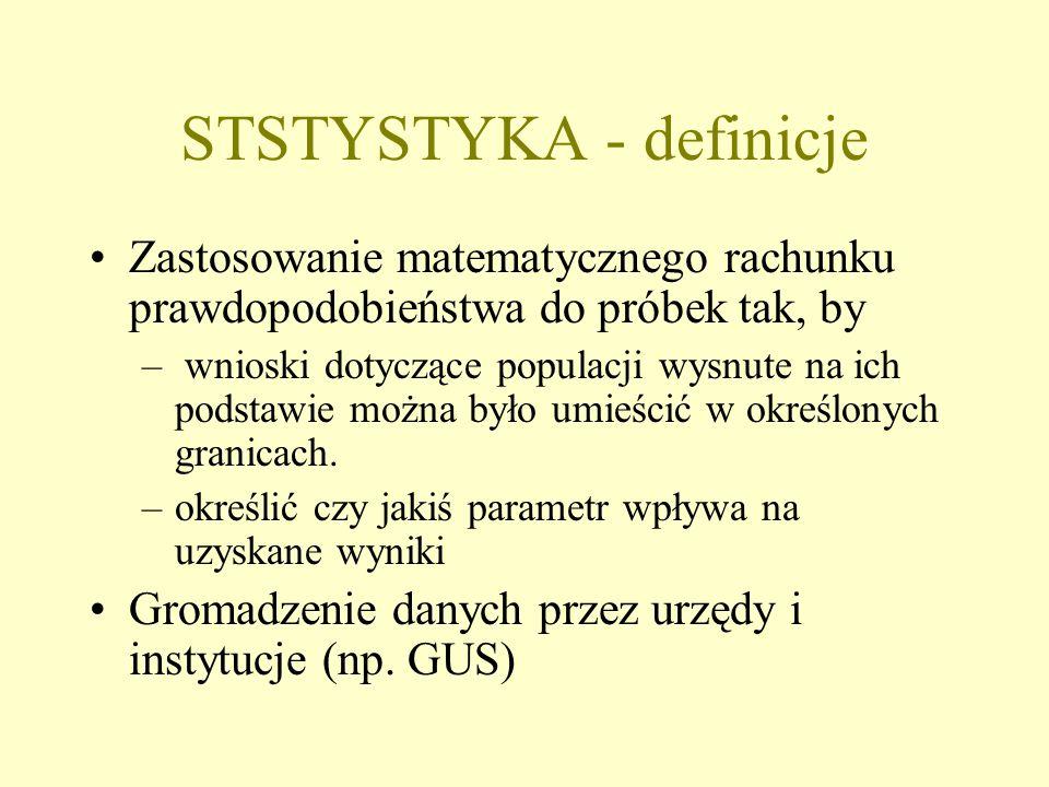 STSTYSTYKA - definicje Zastosowanie matematycznego rachunku prawdopodobieństwa do próbek tak, by – wnioski dotyczące populacji wysnute na ich podstawie można było umieścić w określonych granicach.