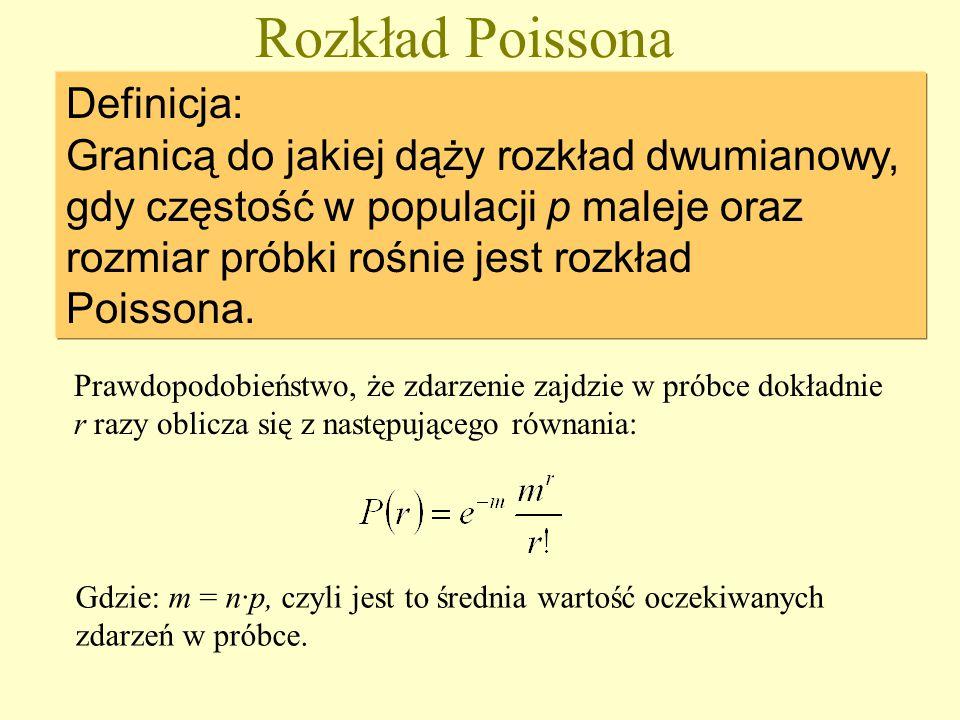 Rozkład Poissona Definicja: Granicą do jakiej dąży rozkład dwumianowy, gdy częstość w populacji p maleje oraz rozmiar próbki rośnie jest rozkład Poissona.