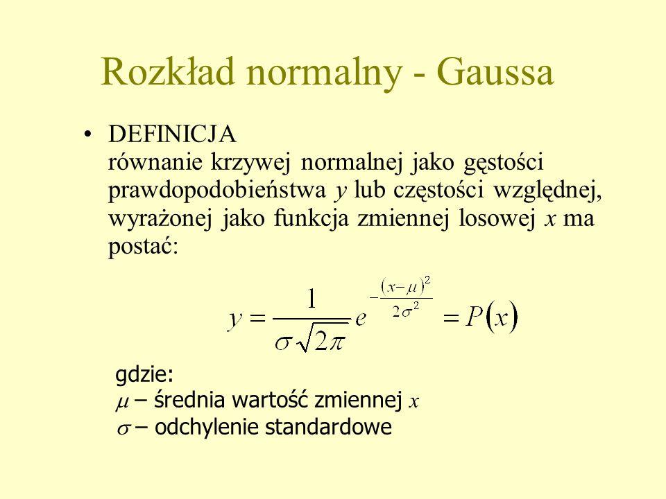 Rozkład normalny - Gaussa DEFINICJA równanie krzywej normalnej jako gęstości prawdopodobieństwa y lub częstości względnej, wyrażonej jako funkcja zmiennej losowej x ma postać: gdzie:  – średnia wartość zmiennej x  – odchylenie standardowe