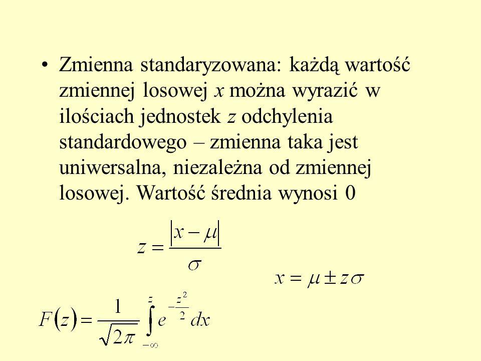 Zmienna standaryzowana: każdą wartość zmiennej losowej x można wyrazić w ilościach jednostek z odchylenia standardowego – zmienna taka jest uniwersalna, niezależna od zmiennej losowej.