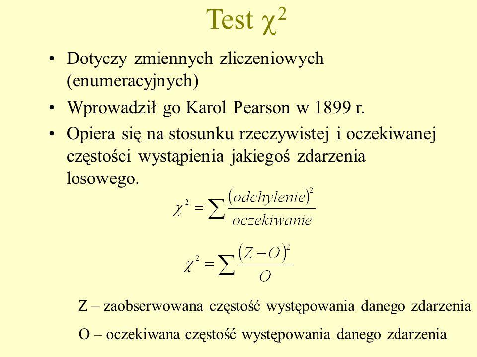 Test  2 Dotyczy zmiennych zliczeniowych (enumeracyjnych) Wprowadził go Karol Pearson w 1899 r.