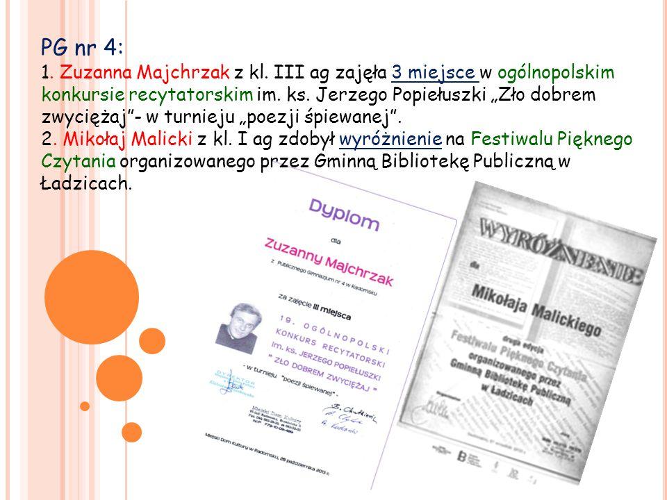 PG nr 4: 1. Zuzanna Majchrzak z kl.