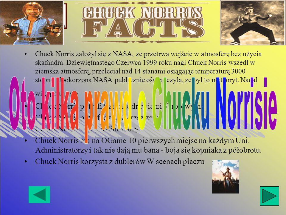 Chuck Norris założył się z NASA, ze przetrwa wejście w atmosferę bez użycia skafandra.