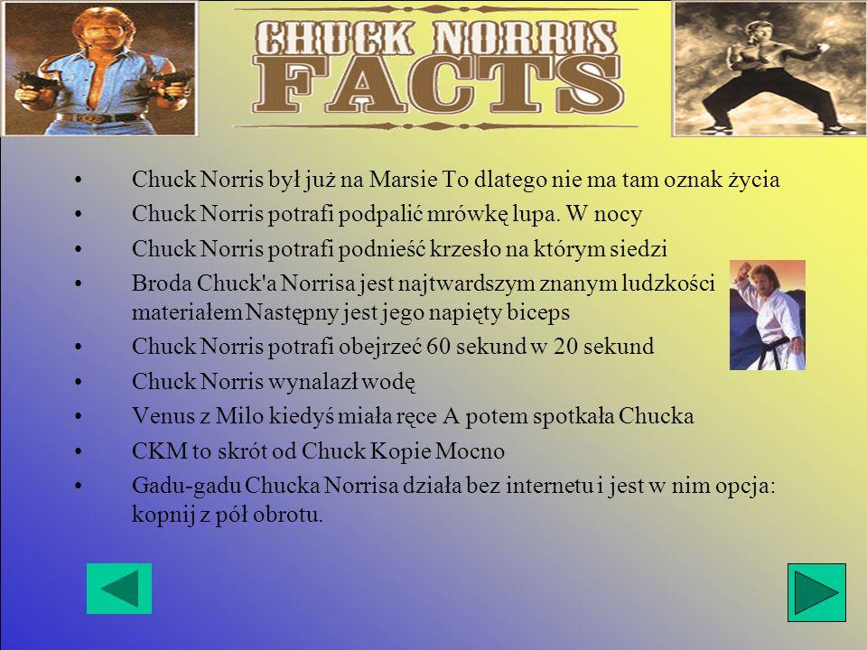 Chuck Norris był już na Marsie To dlatego nie ma tam oznak życia Chuck Norris potrafi podpalić mrówkę lupa.