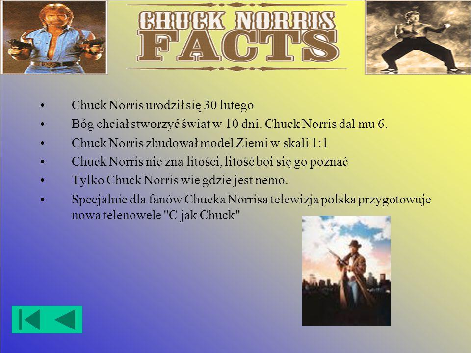 Chuck Norris urodził się 30 lutego Bóg chciał stworzyć świat w 10 dni.