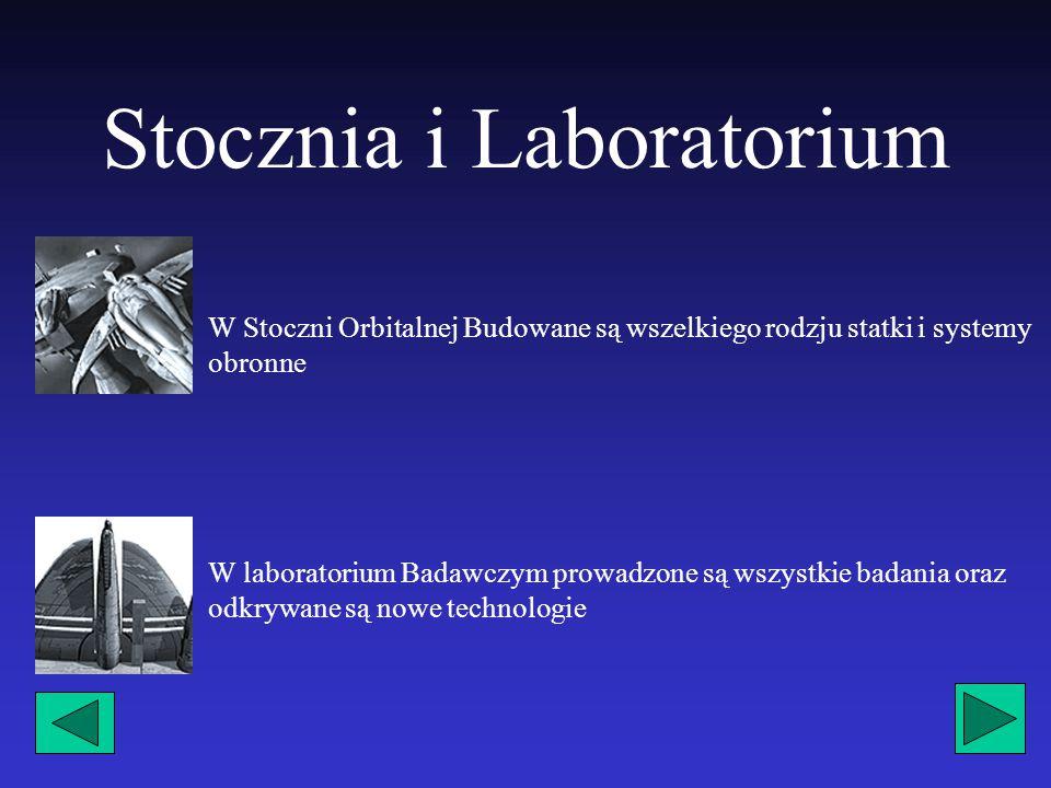 Stocznia i Laboratorium W Stoczni Orbitalnej Budowane są wszelkiego rodzju statki i systemy obronne W laboratorium Badawczym prowadzone są wszystkie badania oraz odkrywane są nowe technologie