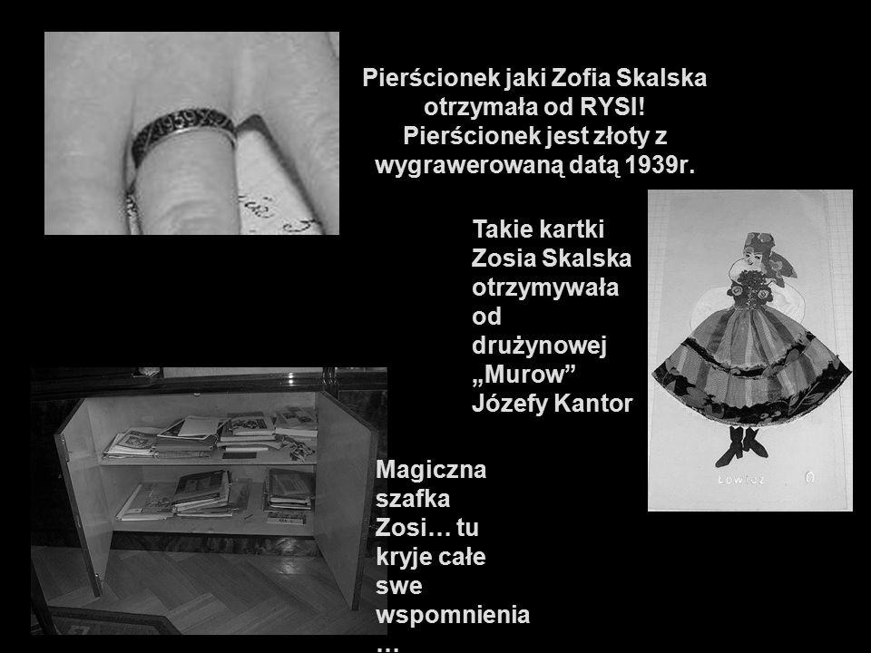 Pierścionek jaki Zofia Skalska otrzymała od RYSI! Pierścionek jest złoty z wygrawerowaną datą 1939r. Takie kartki Zosia Skalska otrzymywała od drużyno