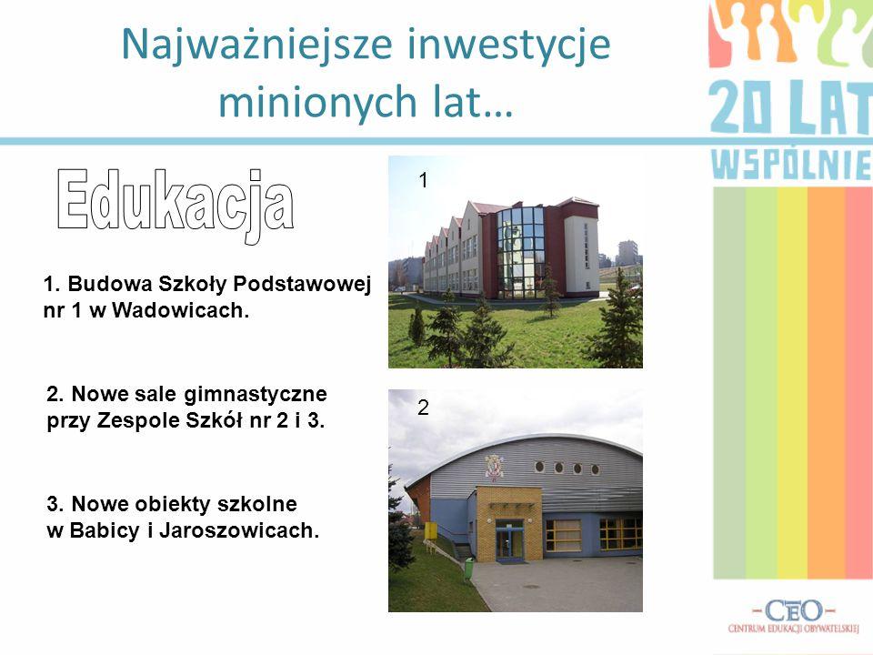 """1.Budowa pływalni """"Delfin w Wadowicach. 2. Stadion miejski """"Orlik ."""