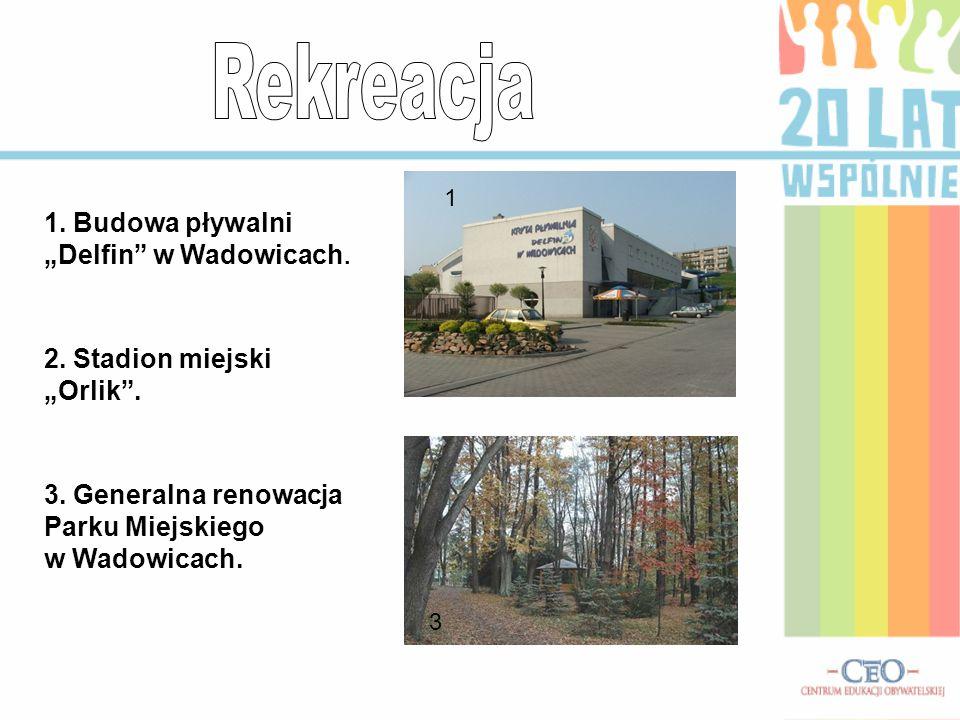 """1. Budowa pływalni """"Delfin w Wadowicach. 2. Stadion miejski """"Orlik ."""