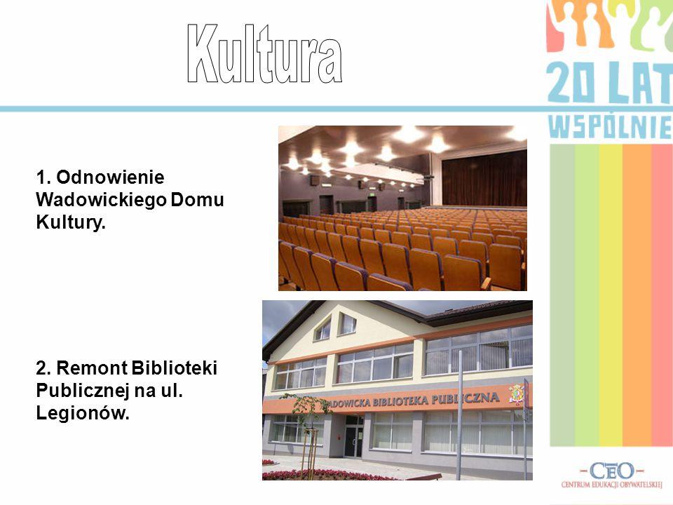 1. Odnowienie Wadowickiego Domu Kultury. 2. Remont Biblioteki Publicznej na ul. Legionów.