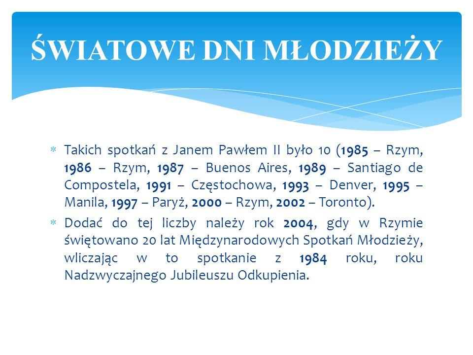  Takich spotkań z Janem Pawłem II było 10 (1985 – Rzym, 1986 – Rzym, 1987 – Buenos Aires, 1989 – Santiago de Compostela, 1991 – Częstochowa, 1993 – D