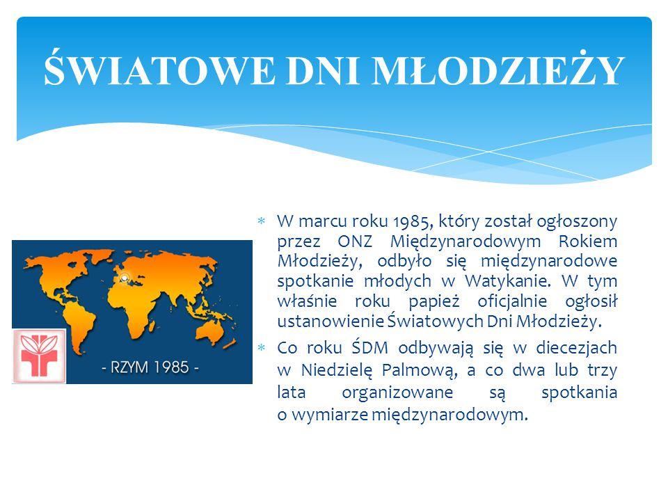  W marcu roku 1985, który został ogłoszony przez ONZ Międzynarodowym Rokiem Młodzieży, odbyło się międzynarodowe spotkanie młodych w Watykanie. W tym