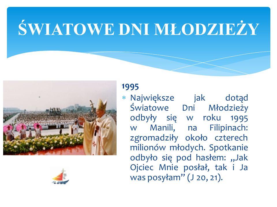 1995  Największe jak dotąd Światowe Dni Młodzieży odbyły się w roku 1995 w Manili, na Filipinach: zgromadziły około czterech milionów młodych. Spotka