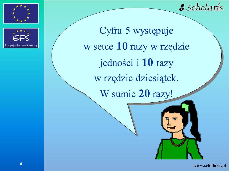 www.scholaris.pl 6 Cyfra 5 występuje w setce 10 razy w rzędzie jedności i 10 razy w rzędzie dziesiątek. W sumie 20 razy! Cyfra 5 występuje w setce 10