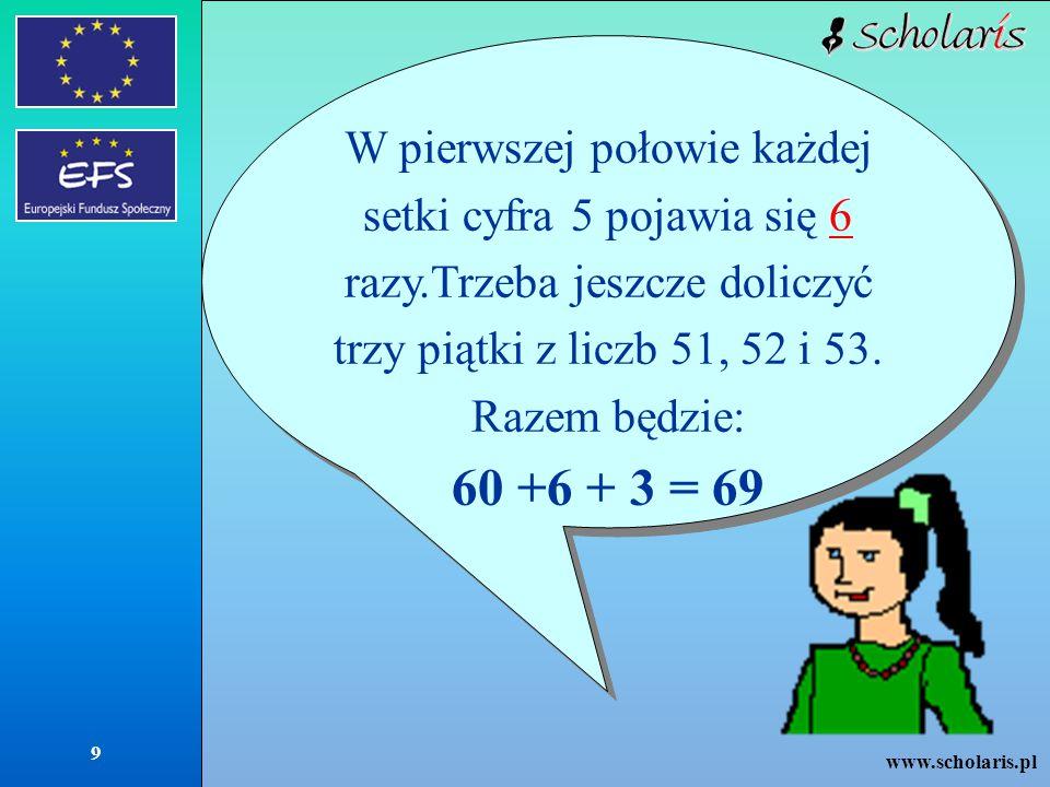www.scholaris.pl 9 W pierwszej połowie każdej setki cyfra 5 pojawia się 6 razy.Trzeba jeszcze doliczyć trzy piątki z liczb 51, 52 i 53.6 Razem będzie: