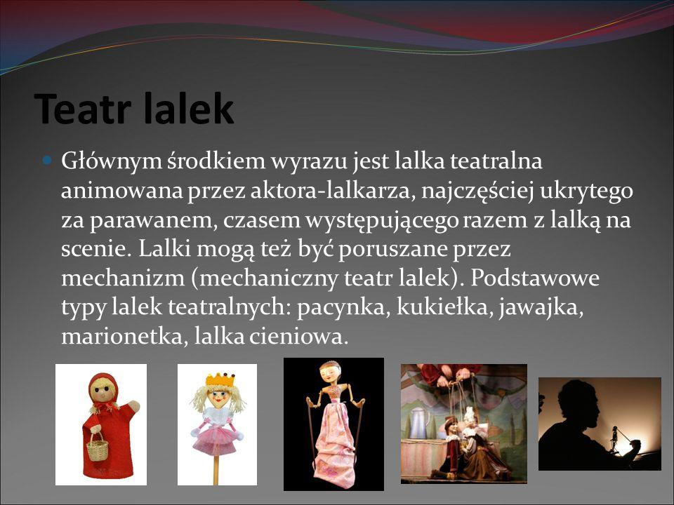 Teatr lalek Głównym środkiem wyrazu jest lalka teatralna animowana przez aktora-lalkarza, najczęściej ukrytego za parawanem, czasem występującego raze